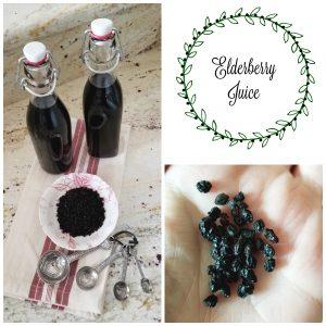 Elderberries in dish with elderberry juice in bottles