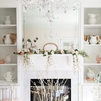 spring mantel decor -feature