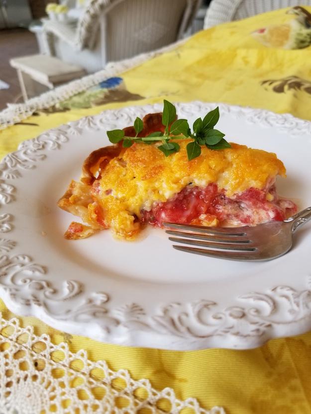 slice of tomato pie