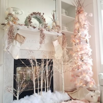 Michaels Dream Tree Challenge Image, pink decorations and white tree