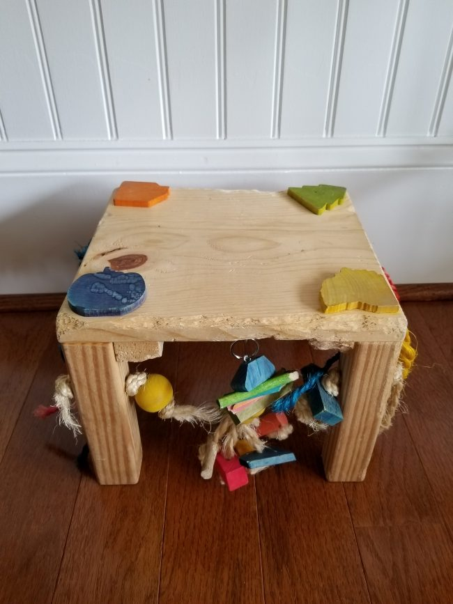 Chew tables provide entertainment for easter bunny rabbits, as well as a way for them to grind down their teeth.